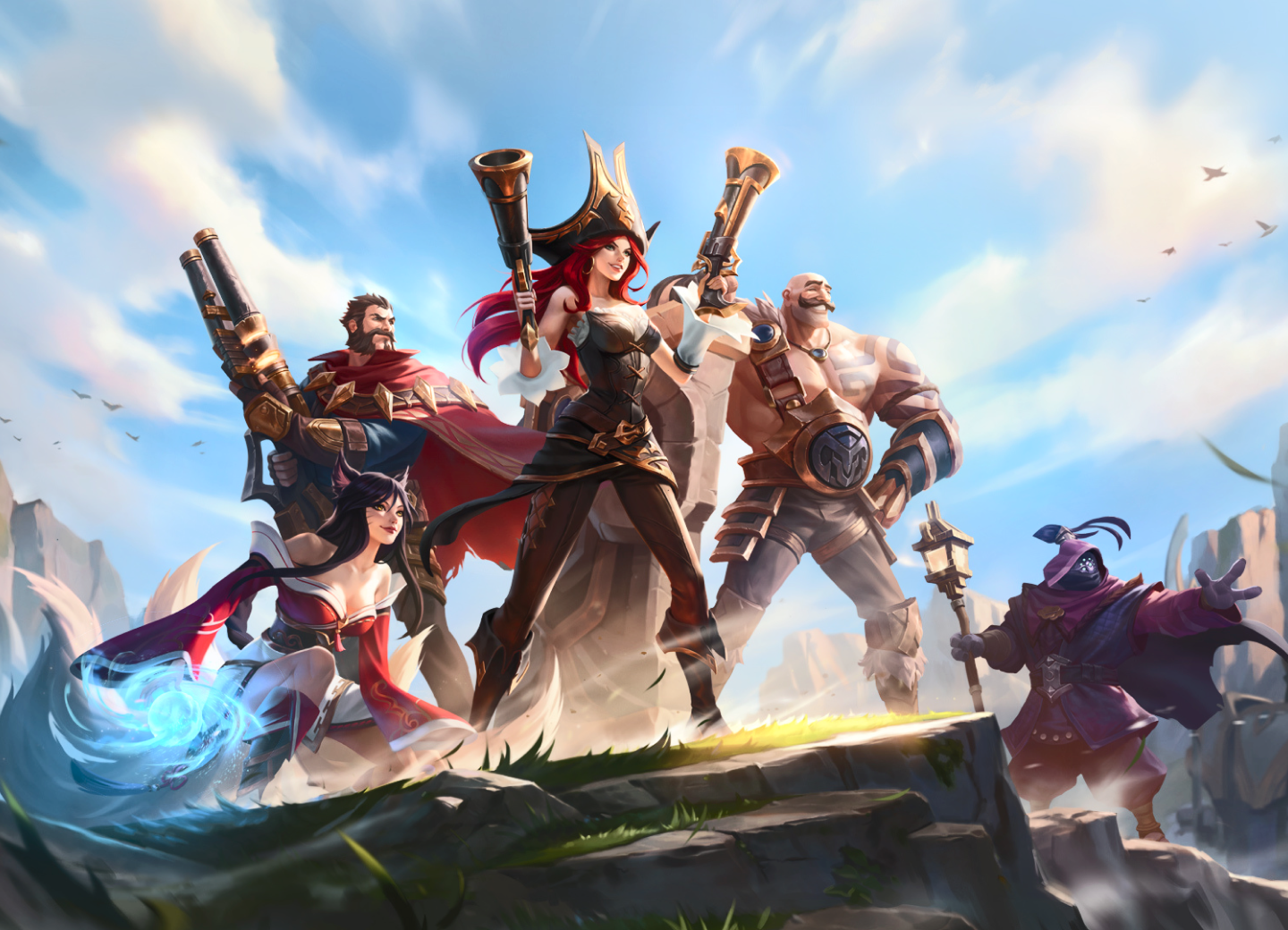 League of legends characters posing on a sunny day at the top of a mountain.